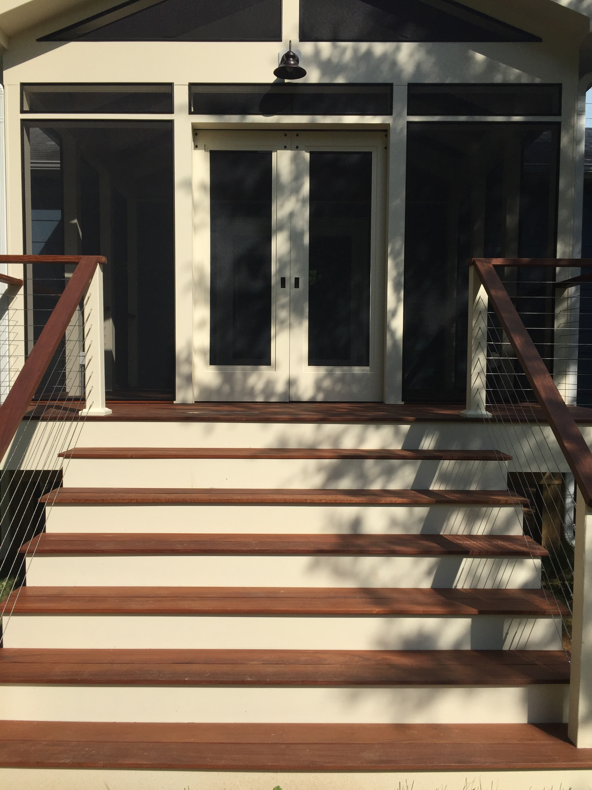 Screen Porch with Ipe & Cable Railing